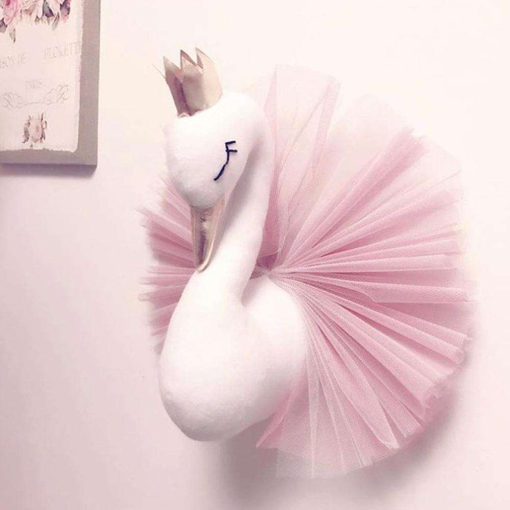 Soft Gold Crown Swan Doll Wall Decoration For Children Room Stuffed Toys Animal Head Wall Decor Baby Nursery Room Birthday Gift