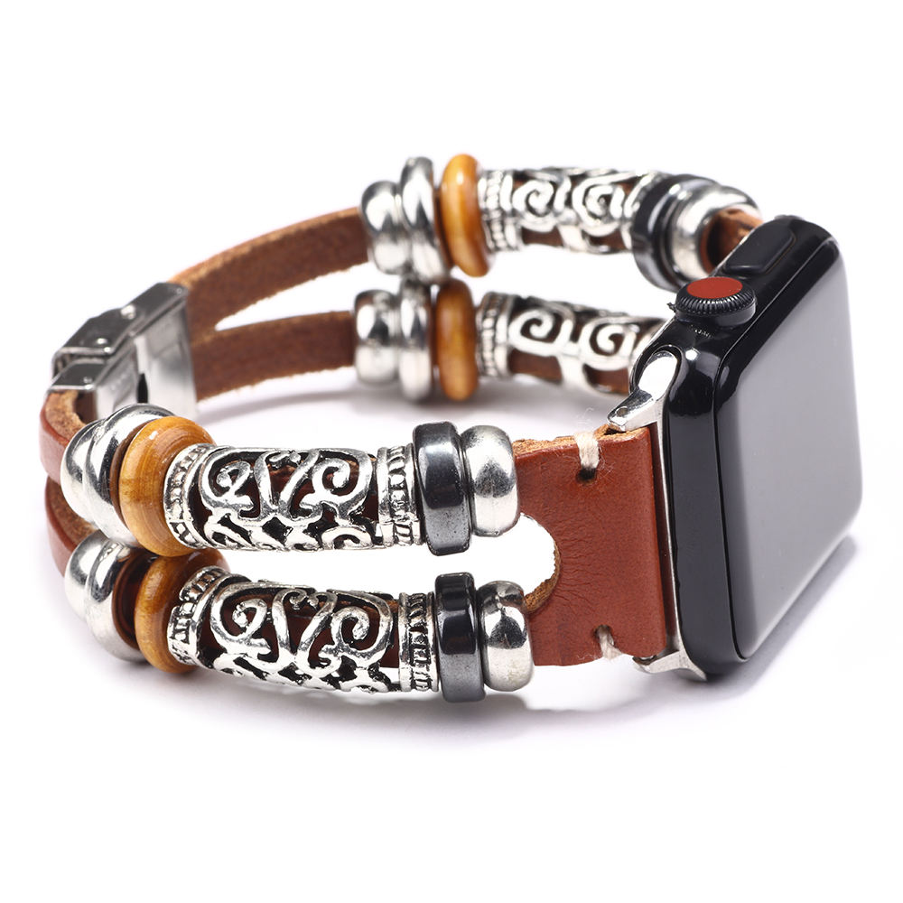women Luxury Sublimation 42mm 44mm Stainless Steel Wooden bead Pu Strap Iphone Apple Smart Watch Band for Sport as Connector