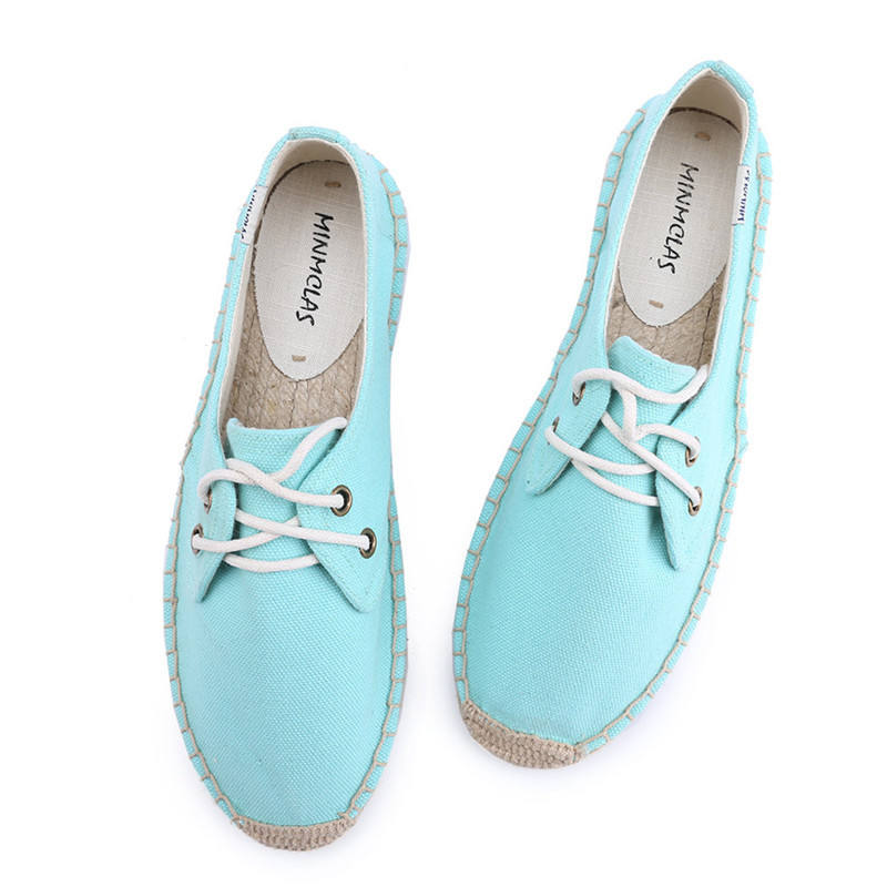 Wholesale Flat Rubber Sole Sneaker Woman Canvas Espadrilles