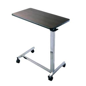 JM0601 Adjustable medical Gas-Spring folding overbed table with wood for hospital and home