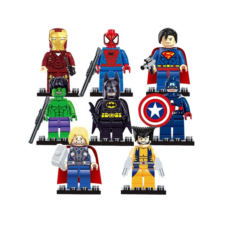8pcs/lot Justice League Bat-man Spiderman Ironman Captain USA Super Hero Building Blocks Toys wholesale