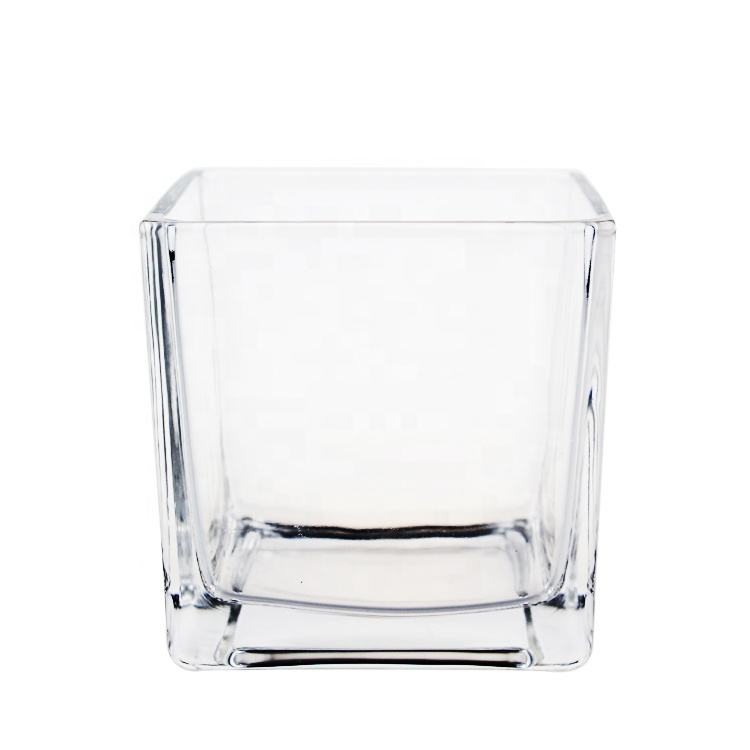 Simple Design Home Decoration Wholesale Plant Flower Square Clear Glass Vase