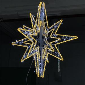 Outdoor Perbelanjaan Mall Ramadan Natal Besar 3D Dekorasi Motif LED Light Star