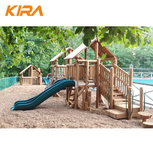 Kids outdoor wood playground slides equipment for sale