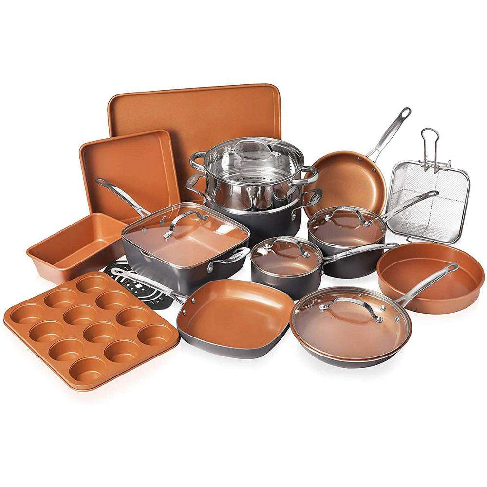20 Pieces All in One Kitchen Cookware+Bakeware Set with Nonstick Durable Ceramic Copper Coating
