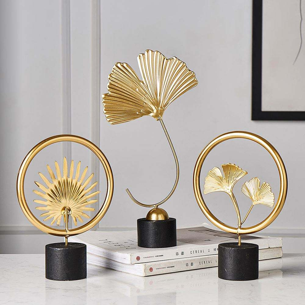 Gold Palm Leaves Modern Plant Ornament Bedroom Home Decoration Accessories for Living Room Gold Iron Shape Crafts Desktop Decor