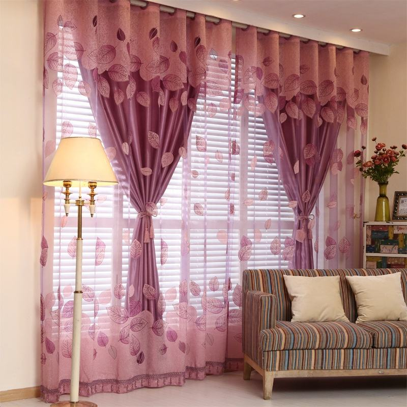 USA leaf style two layer wholesale curtain design home decor nice burnout window curtain for living room hot curtain design