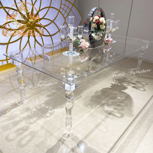 Wedding party uesd transparent crystal acrylic banquet table with chairs