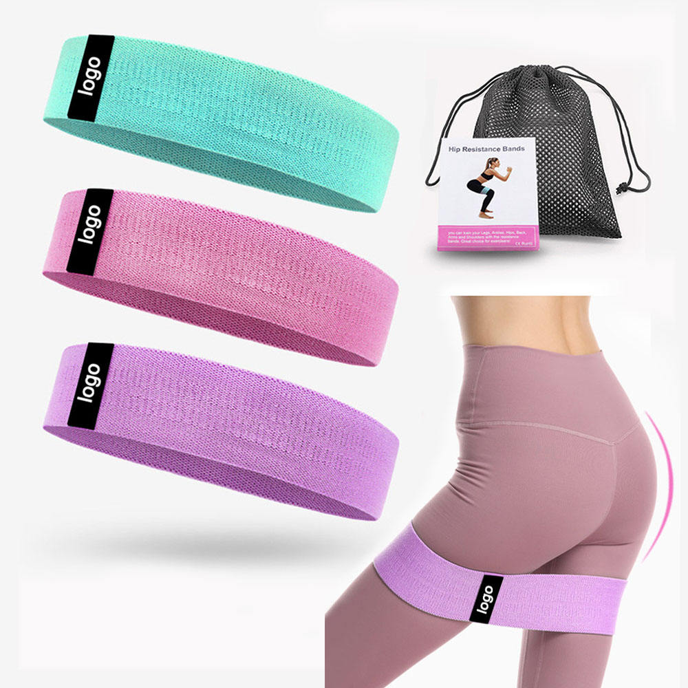 Baiyuheng Custom Logo Printed Yoga Gym Exercise fitness for Legs Glutes Booty Hip Fabric Resistance Bands