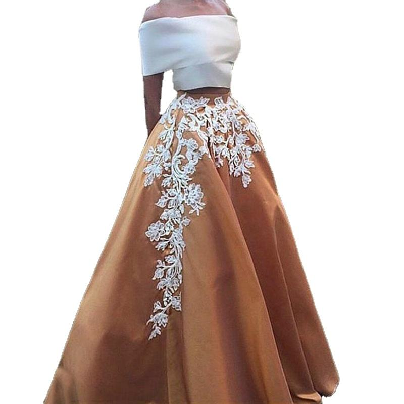 Haute couture women evening dresses a line long gown appliques from turkey