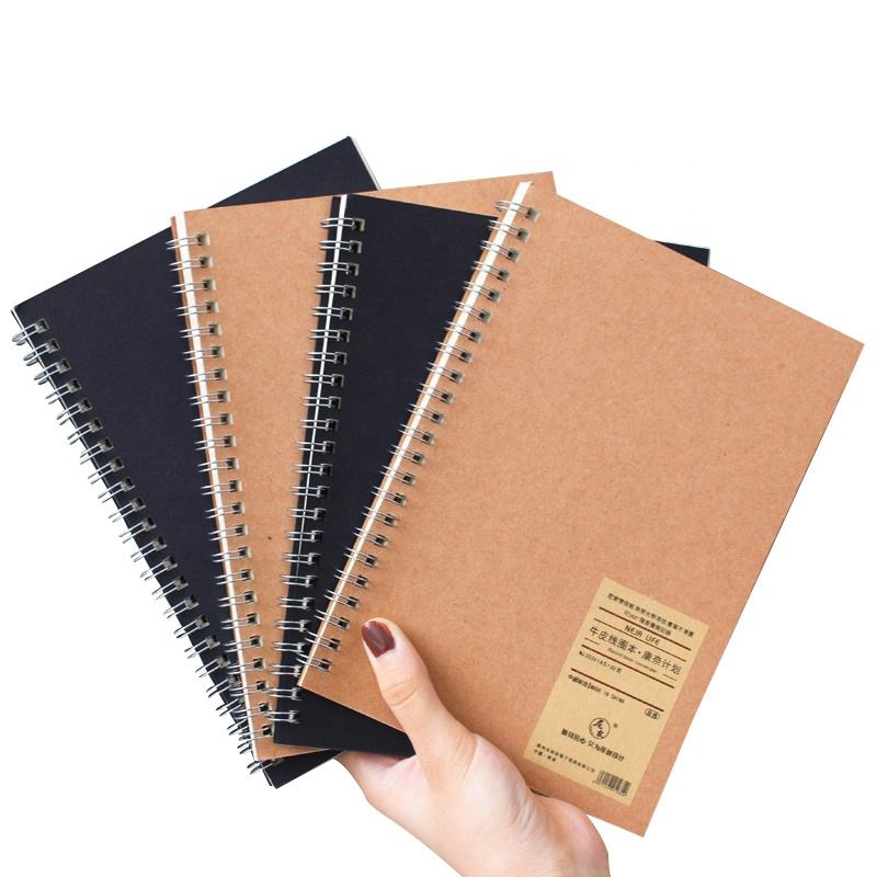 Free Design Wholesale school stationary items student note book A4 A5 kraft paper small diary spiral notebooks