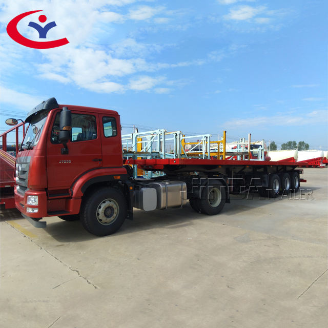 Trung Quốc Nhà Sản Xuất 20ft 40ft 3 Trục Phẳng Xe Tải Trailer 50ton Container Chassis Phẳng Trailer Cho Bán