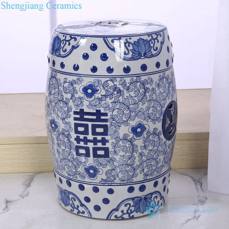 RZPZ33 Chinese style double happiness design ceramic stool