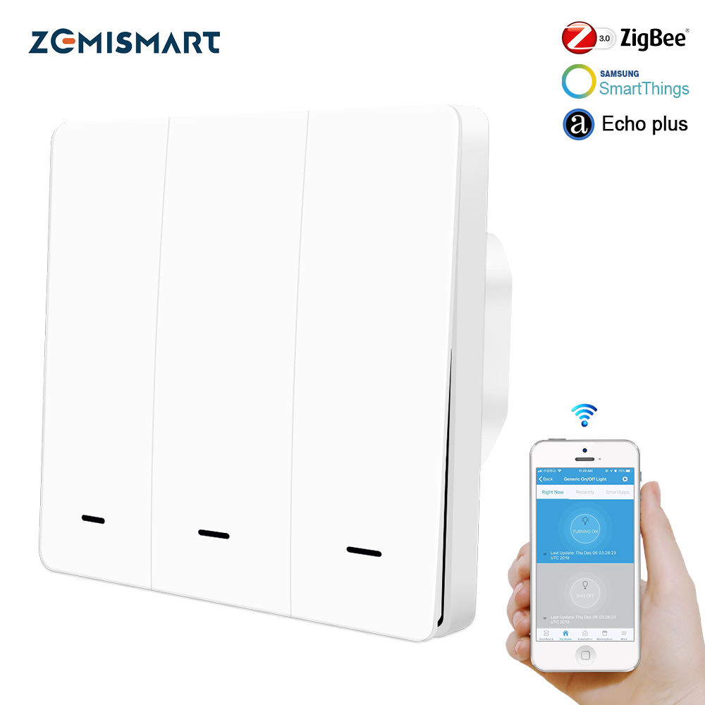 Zigbee 3.0 EU 3 Gang Wall Light Switch Compatible with SmartTing Hub Echo Plus APP Phone Voice Control Button Switch