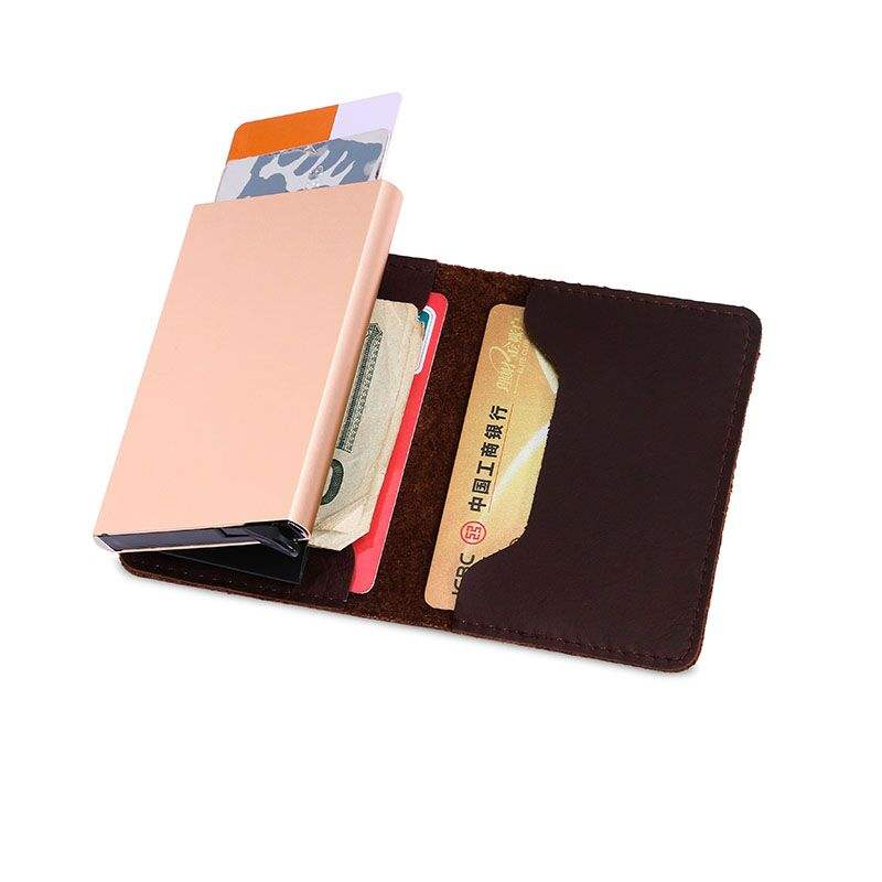 rfid cardholder genuine leather men wallet minimalist aluminum card package pop up card holder rfid
