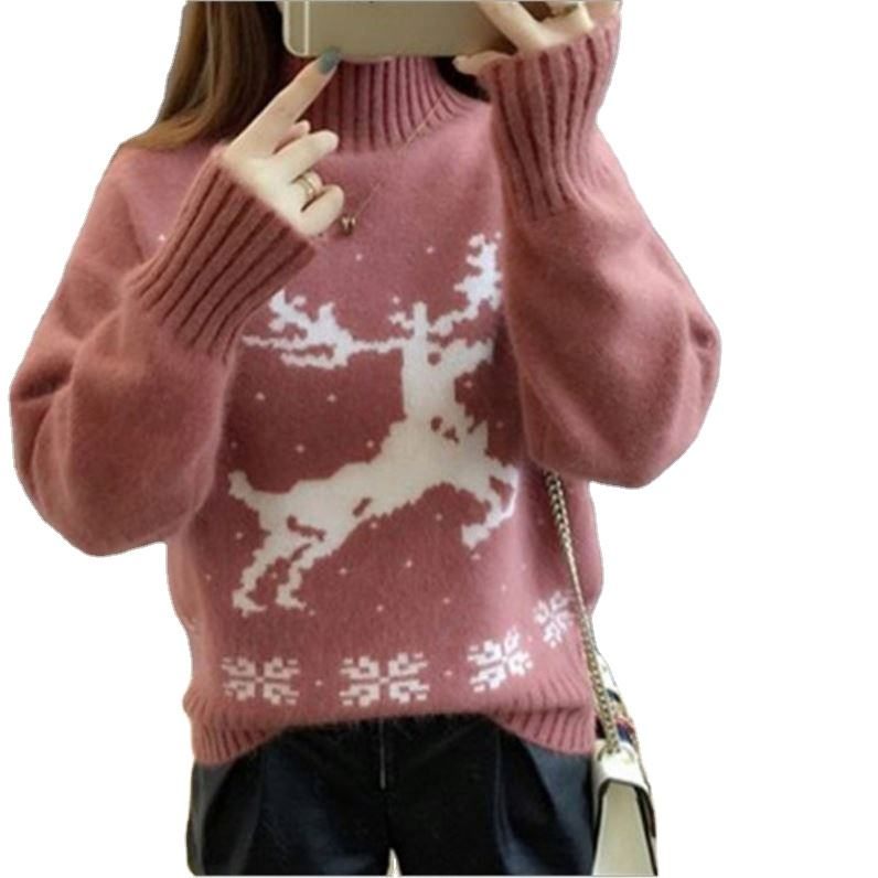 2020 winter thick high neck deer print boys and girls unisex adult christmas sweater