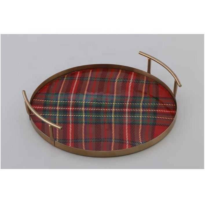 MDF Check Style Enamel Finish Stainless steel Serving Tray, made in India