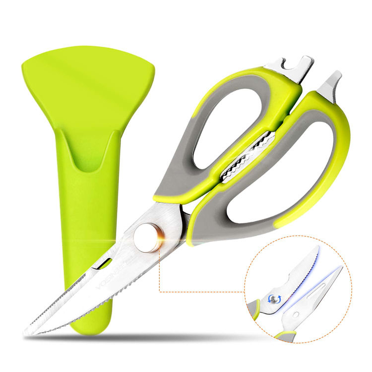 Multi-Purpose Kitchen Shear With Magnetic Blade Cover Detachable Blades For Kitchen,BBQ