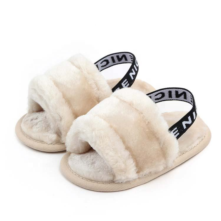 Girls baby Sandals Faux Fur Flats Toddler Infant Summer Fur Slides Slippers with Elastic Back Strap