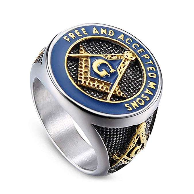 Free and Accepted Masons Ring Stainless Steel Men's Freemason Masonic Biker Ring