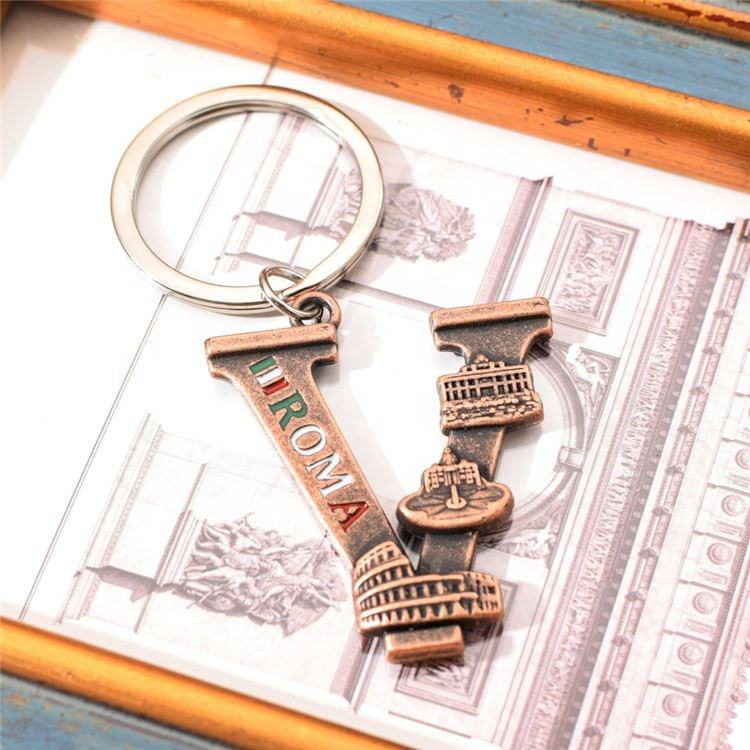 Professional Made Tourist Souvenirs Keychain, Souvenir Rome Souvenir Letter Keychain