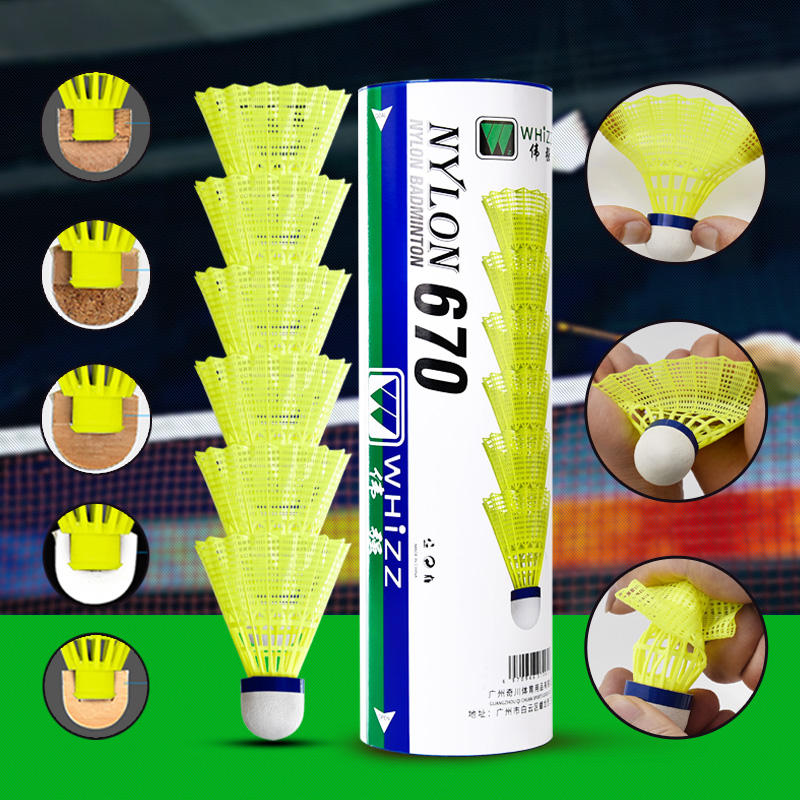 2020 New Arrival WHIZZ 6pcs super durable white/yellow nylon badminton shuttlecock