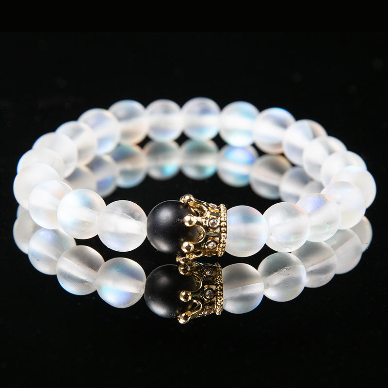 Newest Women Healing Meditation Boho Wrist Mala Lotus Jewelry 8mm Pink Moonstone OM Bracelet for Ladies
