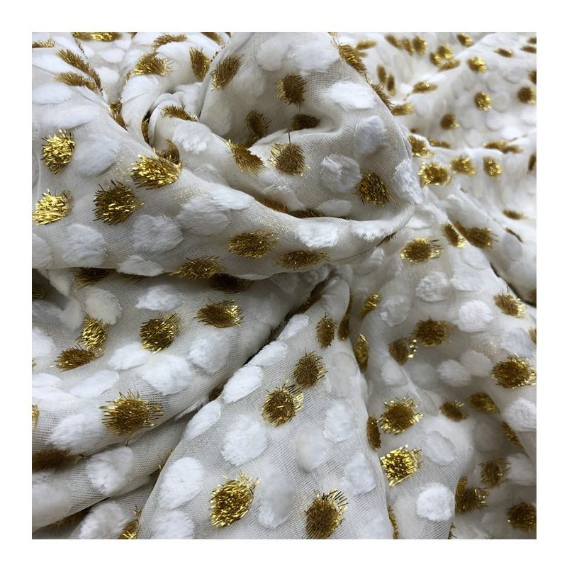 Customized Woven Silk Viscose Blend Burnout Jacquard Velvet Silk Fabric
