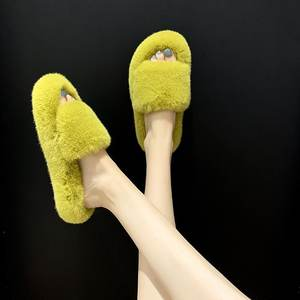 Furry Bedroom for Women Cheap Fluffy House Wholesale Slipper Slide Rabbit Womens Slides Brown Winter Fur Slippers