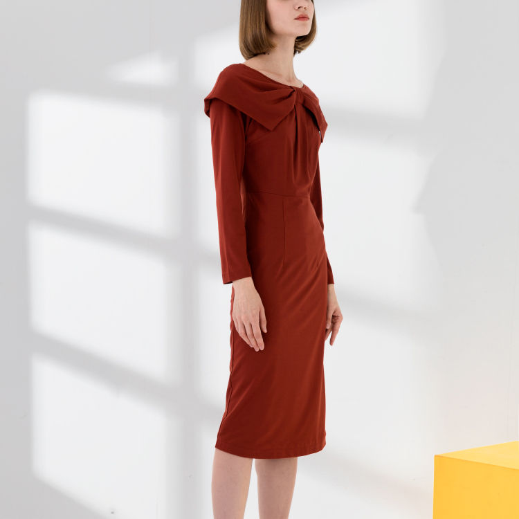MJIU Casual Dresses Long Sleeve Shawn Bow Neck Fashion New York One Piece Knitted Ponte Dresses Rust