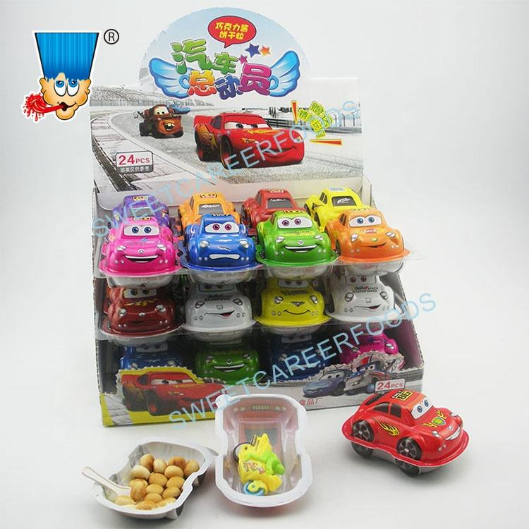 Car Shape Surprise Egg Chocolate Biscuit With Assorted Toys