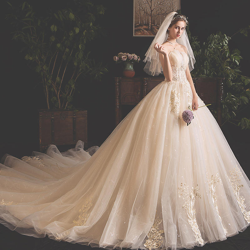 Champagne Lace elegant wedding dress Sleeves Bridal Gown Off Shoulder wedding dresses from china