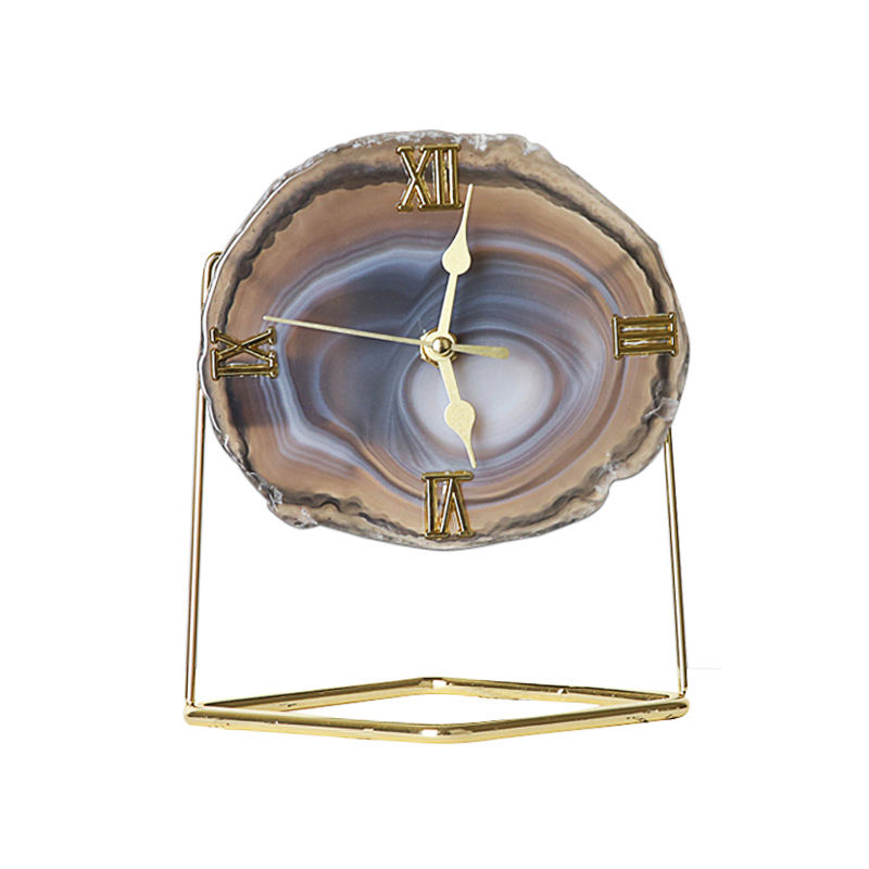 Promotional home decoration luxury agate quartz desk table clocks for living room