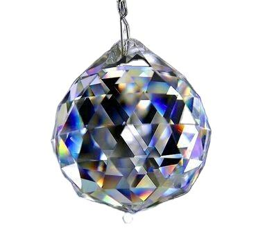 40mm Shinning glass drop pendant faced ball crystal hanging ball glass prism drop for lighting crystal lighting drop