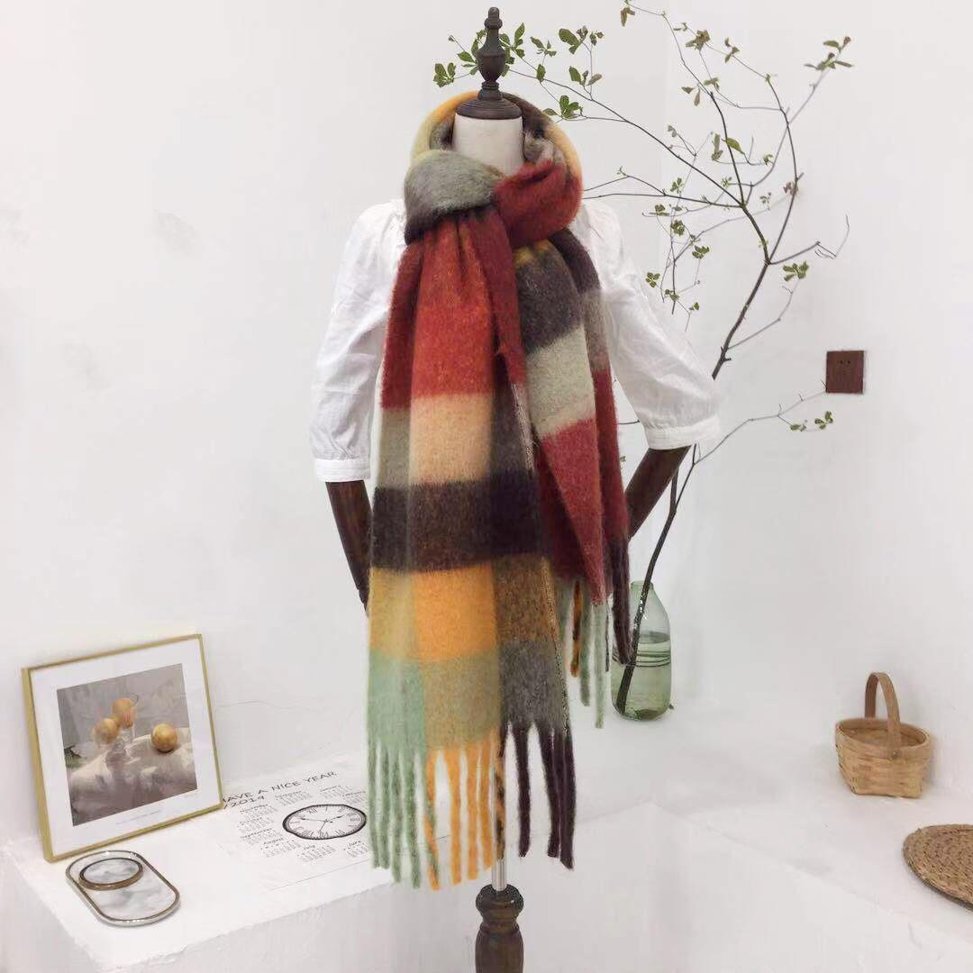 Fashion women stock large oversize plaid winter scarf cape acrylic oblong chunky fluffy scarf with tassel Hot sale products