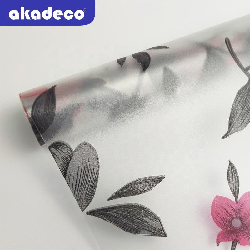 Popular designs waterproof UV & IR resistant removable glue PVC self adhesive bathroom window glass decorative film