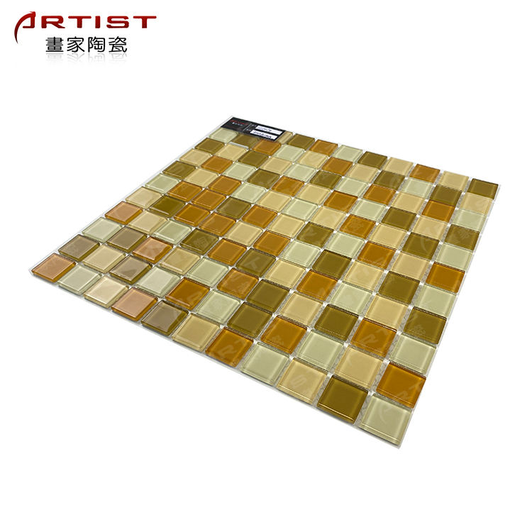 cheap square shaped brown light emperador bathroom floor tiles marble mosaic
