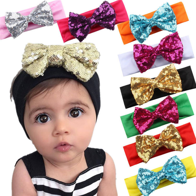 Fashionable Quality Sale Baby Headband Soft Fabric Sequin Gold Bow Knot Elastic Hairband