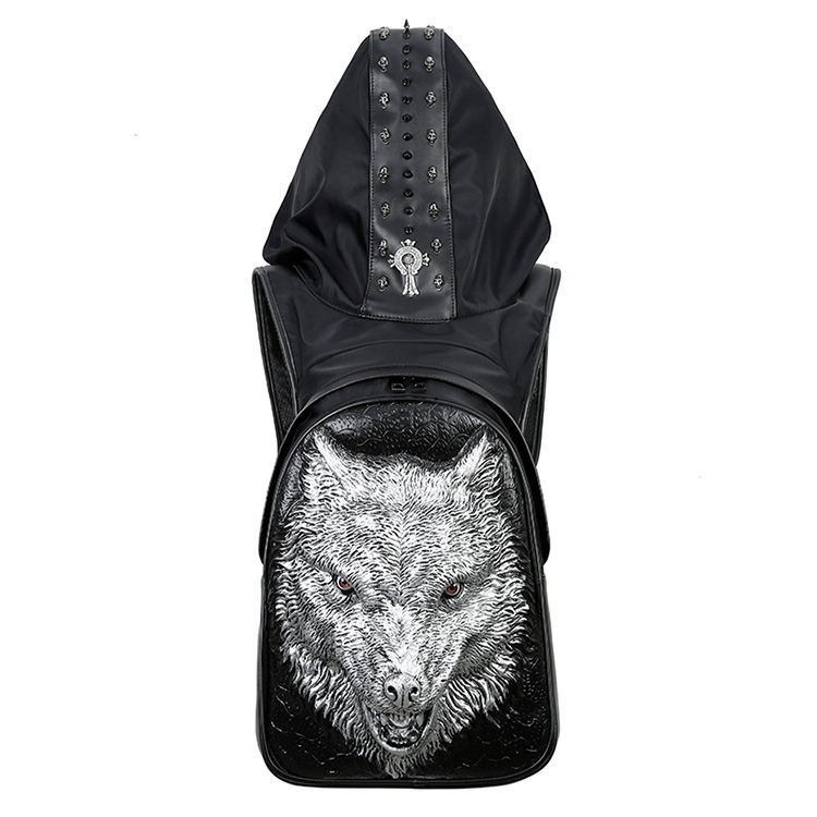 Wolf head backpack pu leather shoulder bag men and women 3d Wolf head personality travel backpack high quality