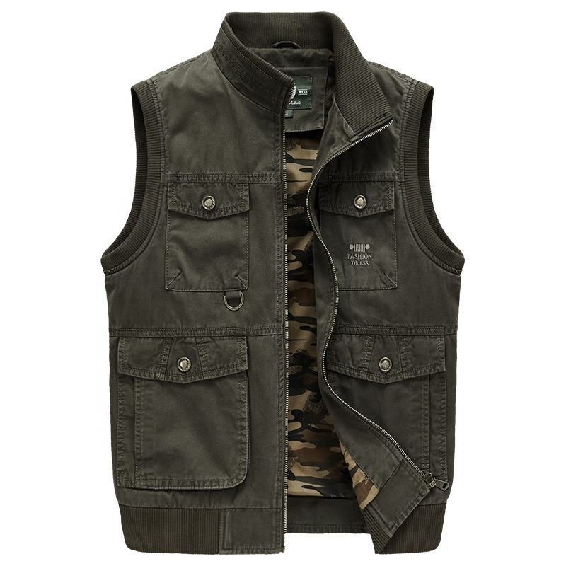 2020 Fashion High Quality Casual Punk Mens Combat Buckle Standing Collar Sleeveless Waistcoat Jacket Fishing Vest For Men