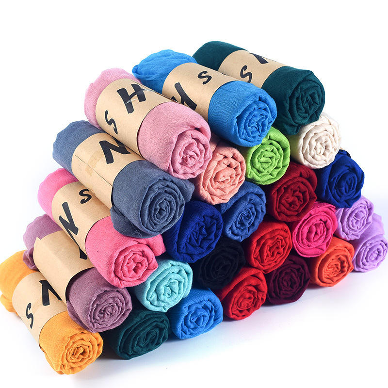Newest cotton Plain Cotton scarf Hijabs hot design Wave Wrinkled Muslim wrap hijab scarf scarves