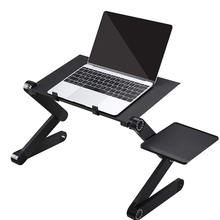 Computer Shelf Collapsible Aluminum Stand Adjustable Folding Lap Laptop Desk/Stand/Table with Cooling Fan and Mouse Shelf