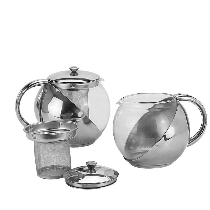 High Quality Moroccan Tea Pot Stainless Steel Glass Tea Kettle With Strainer Glass Teapot