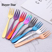 Wholesale 18/10 stainless steel reusable colorful mini dessert cake fruit salad fork