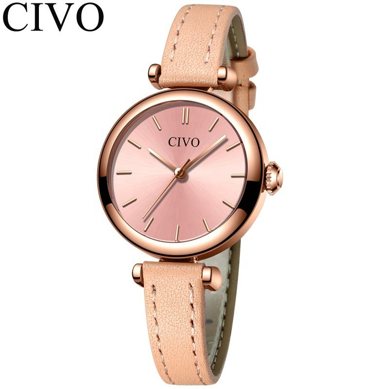 CIVO Small Diameter Lotus Color Small 3ATM Water Resistant Four Color Option Genuine Leather Band Sleek Watch For Women
