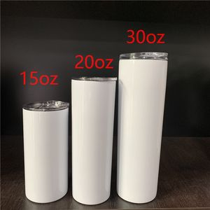 Customized 15oz 20oz 30oz double walled Vacuum Insulated Stainless steel skinny sublimation blanks coffee tumbler wholesale
