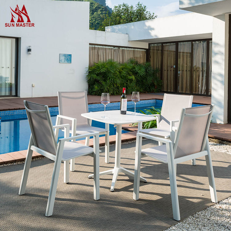 Popular Modern Outdoor Garden Furniture Set Patio Pool Backyard 4-6 Seater Aluminum Batyline Fabric Dining Chair And Table Sets