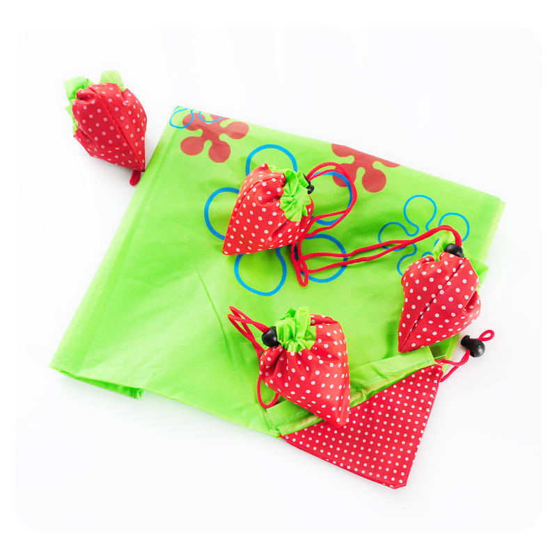 Custom LOGO Cheap Strawberry Shopping Bag Fruit Shaped Folding Reusable Bag In Different Colors