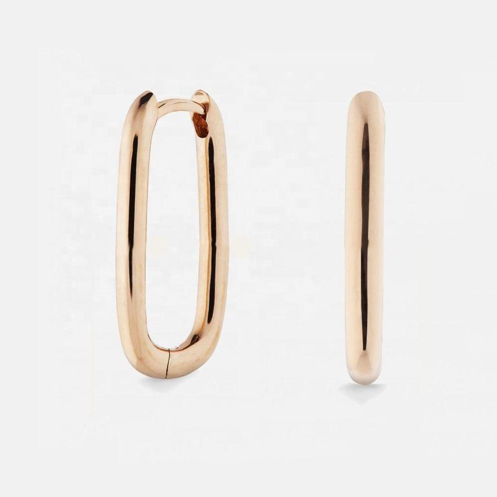 LOZRUNVE Newest Design Jewelry 2020 Vermeil Gold Large Oval Hoop Earring