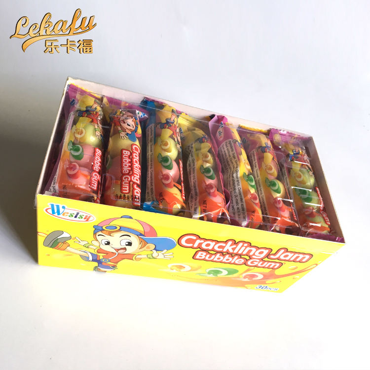 Fruity Liquid Filled Gum Bubble Round Lemon Apple Strawberry Multicolored